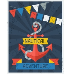 Nautical Adventure Retro poster in flat design vector image