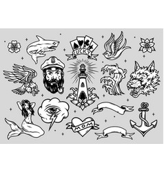 Nautical tattoos vintage collection vector