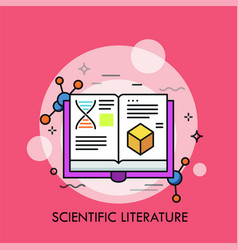 Opened book and molecular structures vector