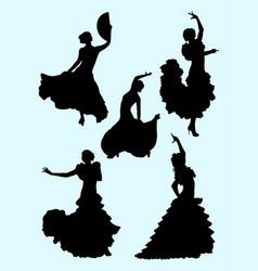 passionate woman dancing flamenco vector image