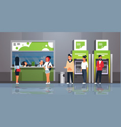 People waiting line queue cashier cash desk window vector