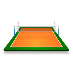 perspective of vollyball field court with net eps vector image