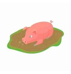 Pig in a puddle icon in cartoon style vector