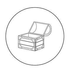 Pirate wooden chest icon in outline style isolated vector