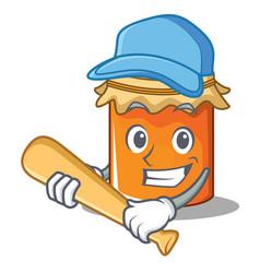 Playing baseball jam character cartoon style vector