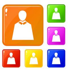 Political man show paper icons set color vector
