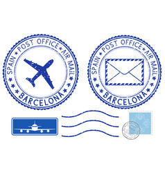 Postmarks barcelona spain blue air mail symbols vector