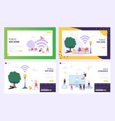 public wifi hotspot zone concept landing page vector image