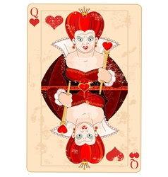 Queen of hearts card vector
