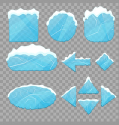 realistic 3d detailed ice buttons set vector image