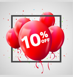 red balloons discount frame sale concept for shop vector image