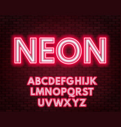 red-white neon alphabet on a dark background vector image