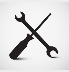 screwdriver and wrench icon tools symbol vector image