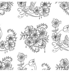 seamless pattern cute bird and flowers vector image