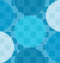 Seamless pattern of blue circles over checker vector image