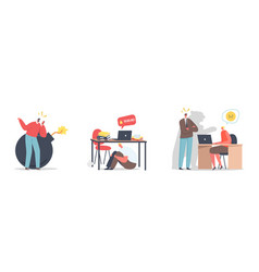 set deadline stress at work concept angry boss vector image