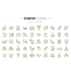 Set line icons startup vector