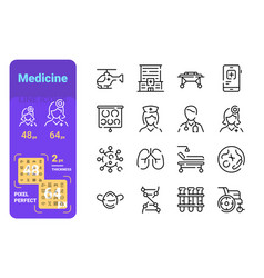 set medicine simple lines icons doctor vector image