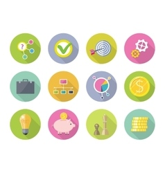 Set of business icons in flat style design vector