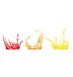 set three full color juice splashes hand drawn vector image