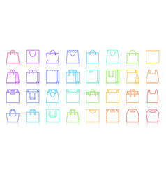 shopping bag simple color line icons set vector image