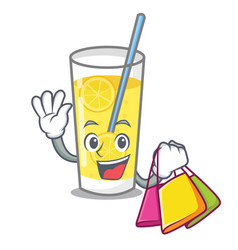 shopping lemonade character cartoon style vector image