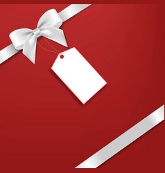 Silver bow with red background vector