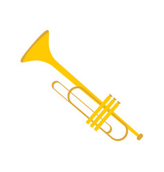 simple gold trumpet instrument graphic vector image