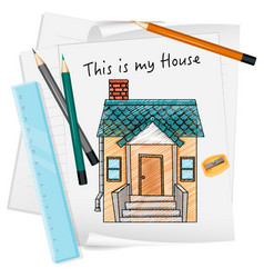 sketch little house on paper isolated vector image