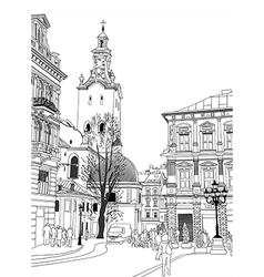 sketch of Lviv historical building vector image