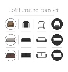 Soft furnishing icons set vector