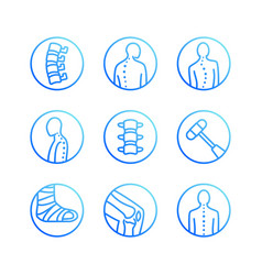 Spine backbone flat line icons orthopedics vector