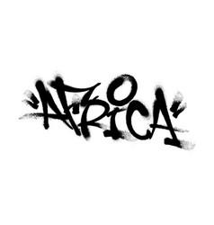 Sprayed africa font graffiti with overspray vector