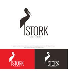 stork bird logo design vector image