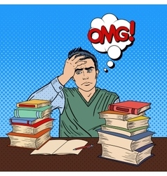 Student with Stack of Books Pop Art vector