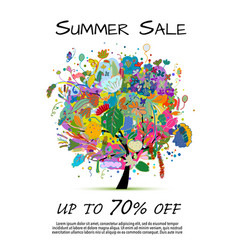 summer sale banner floral tree for your design vector image