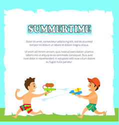 Summertime children playing with water pistols vector