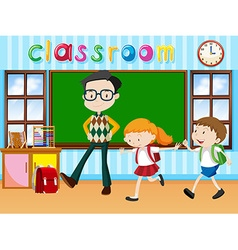 Teacher and students in the classroom vector
