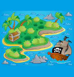 Theme with island and treasure 1 vector