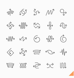 Thin line arrows icons set vector
