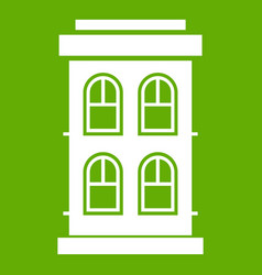 two-storey house with large windows icon green vector image