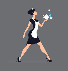 Waitress silhouette on a blue background slender vector