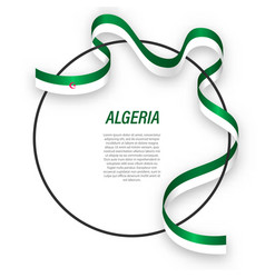 Waving ribbon flag algeria on circle frame vector