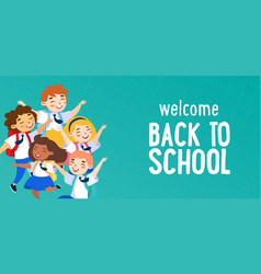 welcome back to school concept schoolboys and vector image