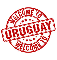 Welcome to uruguay red round vintage stamp vector