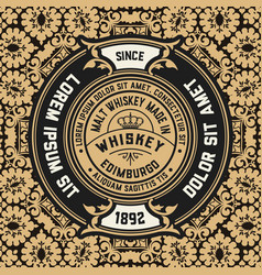 whiskey label with old wallpaper vector image