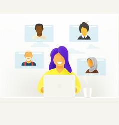 Woman makes video webinar online chat concept vector