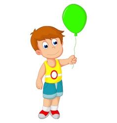 boy cartoon holding a balloon vector image