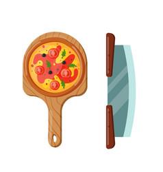 italian cook pizza icon vector image