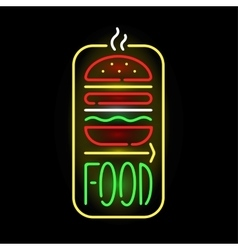 Light neon food label vector image vector image